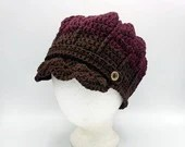 Adult Cotton Newsboy Cap in 'Chocolate Sundae' with coconut buttons