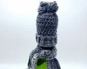 Bottle Caps Hat and Scarf set for cider and wine bottles  in Gray