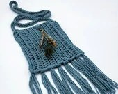 Teal Boho Crossbody Bag with Bead and Feather Embellishment