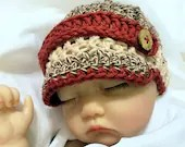 NewbornSock Monkey Cotton Brim hat with buttons
