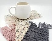 Set of 4 Cotton Mug Rugs in gray pink and speckled gray/pink/beige