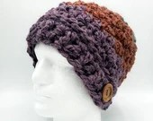 Thick Textured Unisex Slouch Beanie in Purple, Rust, and Sage w/button