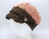 Adult Cotton Newsboy Cap in 'Cocoa Spice' with coconut buttons