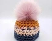 Newborn Wool Beanie with Faux Fur Pom