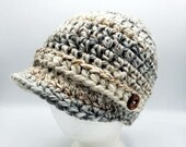 Newsboy Cap in 'Fossil' with decorative buttons