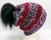 Berry Mix Textured Beanie w/Faux Fur Pom Pom