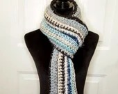 Long Classic Style Boho Scarf in blue silver mint ivory
