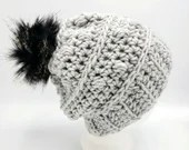 Bobble Beanie in 'Putty' w/faux fur black striped pom