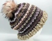 Scandinavian Slouch in 'Funky' w/Fur Trim and pom pom
