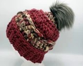 Chill Slouch in 'Polar Berry'  w/Gray PomPom