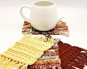 Set of 4 Cotton Mug Rugs in red yellow and speckled red/white/yellow/gray