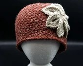 Rustic Flower Beanie in 'Red Roads'