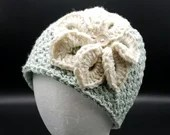Denim in Color Flower Beanie in 'Green'