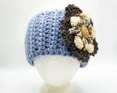 Thick Button-On Ear Warmer in 'Sky Blue' w/Large Brown Ivory Blue Flower