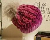 Cable Loops Beanie w/Faux Fur Pom Pom in 'Carnation'