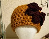 Thick Butterscotch Flower Beanie