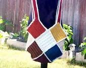 Patchwork Square Shoulder Bag in Autumn Jewel Tones teal, purple, rust, gold, ivory, brown, beige
