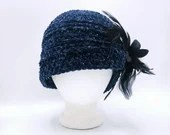 Navy Velvet Charleston Hat with silver sparkles and black flower/feather removable clip