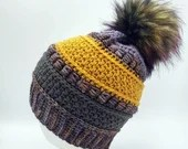 Merino Wool Beanie in Lavender and Gold