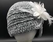 Velvet Flapper hat in 'Smoky Green' with white flower clip