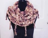 Thick Velvety Triple Infinity Scarf w/Fringe in 'Toasted Plums'