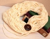 Cream Fashion Crochet Scarf w/Tie & Button