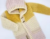 Crochet Patchwork Hoodie in 'Crocus in Focus' - Size 2/3T mustard and pink