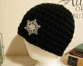 Thick Black Beanie w/Sparkling Silver Snowflake
