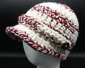 Candycane Newsboy Cap with decorative buttons