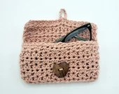 Handmade Crochet Glasses Case with heart button closure in blush pink