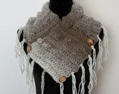 Fringed Cowl Scarf in 'Cappuccino'