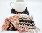 Set of 4 Cotton Mug Rugs in 'Cocoa Spice'