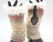 Fur Trimmed Wrist Warmers in 'Ottawa' browns, pinks, creams