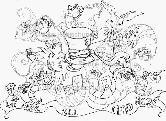 alice in wonderland coloring page # 8