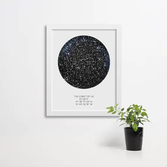custom night sky poster available framed star map by date constellation print first anniversary gift wedding gift star print