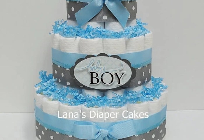3 Tier Baby Boy Blue And Gray Diaper Cake Boy Baby Shower Etsy