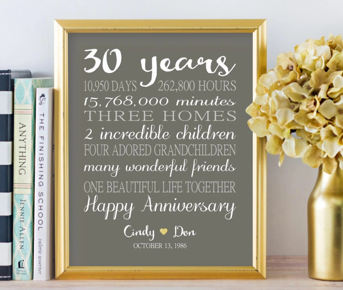 30th anniversary gifts personalized
