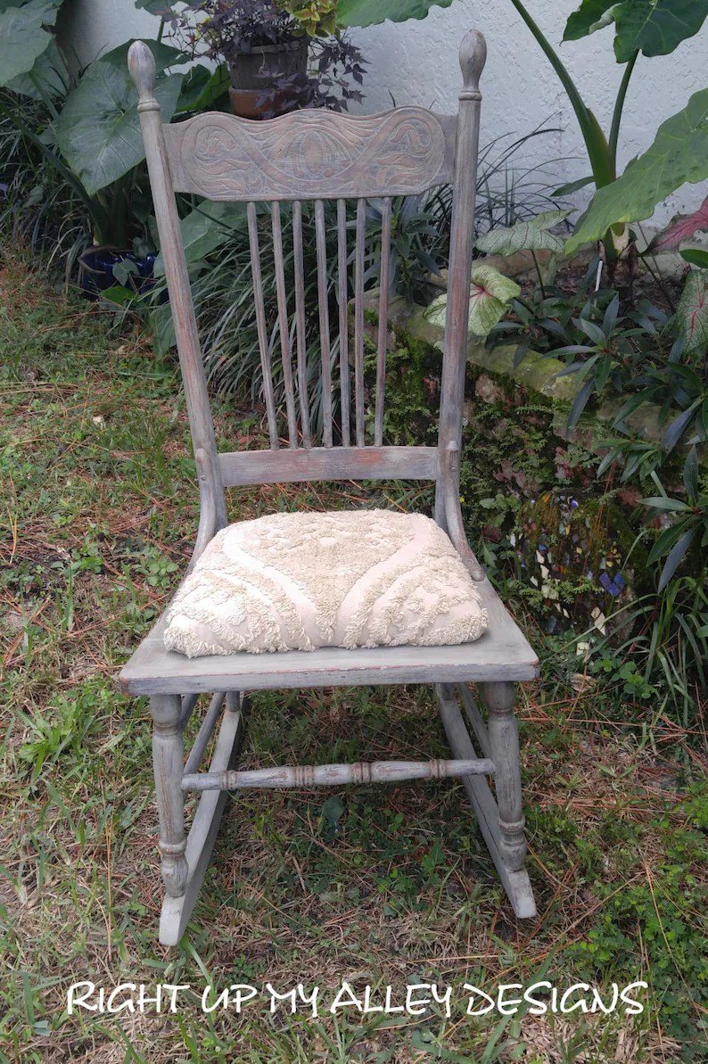 Green Upholstered Chair Old Rocking Chair Annie Sloan Painted Furniture Green Chair Oak Rocking Chair Vintage Chair Farmhouse Upholstered Chair Antique Chair