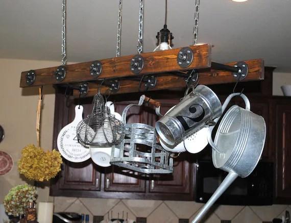 walnut stained industrial rustic ladder pot rack modern pot etsy