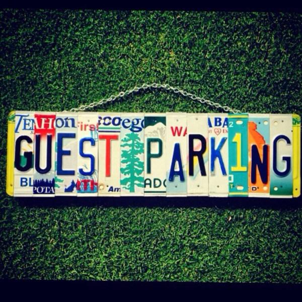 Parking Sign. Guest Parking. Car Tag. License Plate Art. Sign