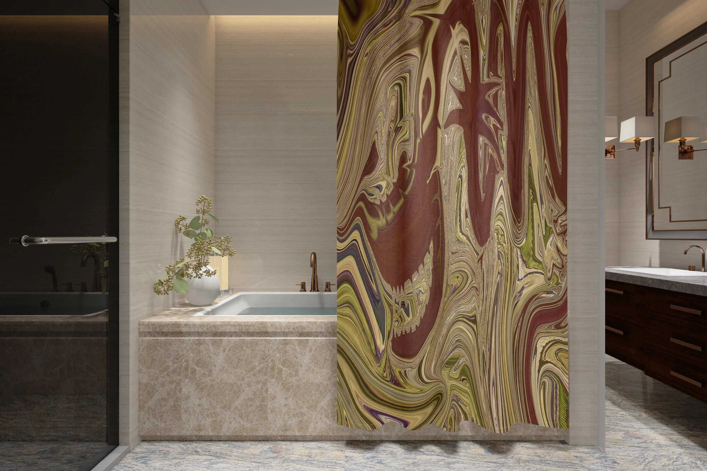 Abstract Red Dragon Shower Curtain W Bathmat Set Options Unique Dark Gold Bath Curtain Unique Bathroom Decor