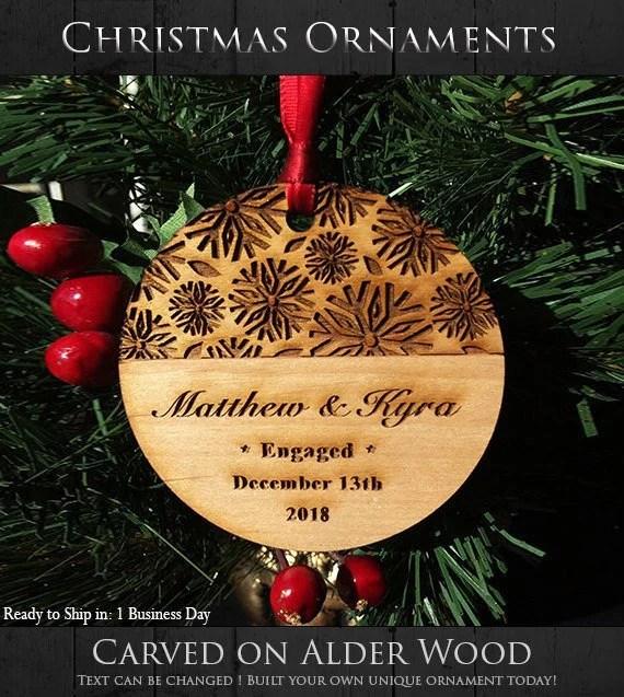 engaged anniversary christmas ornament