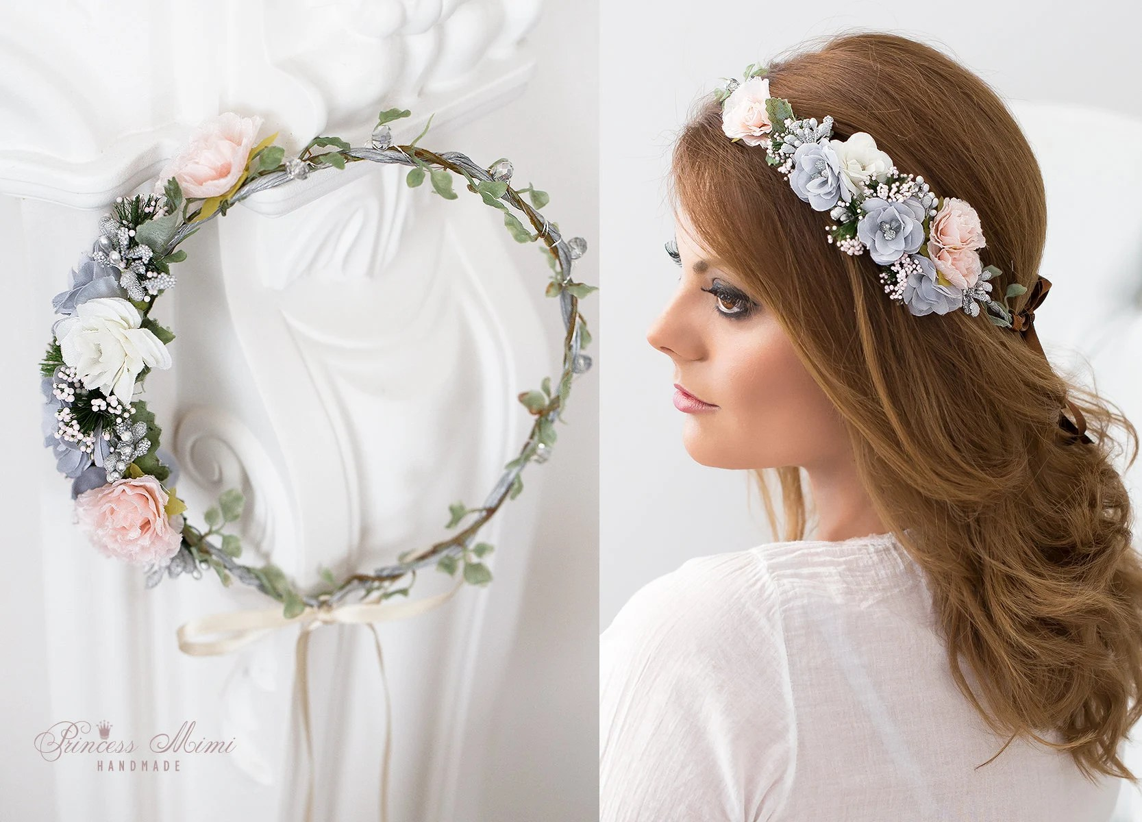 Braut Haarkranz Blumenkranz Blumen Haarschmuck  Etsy