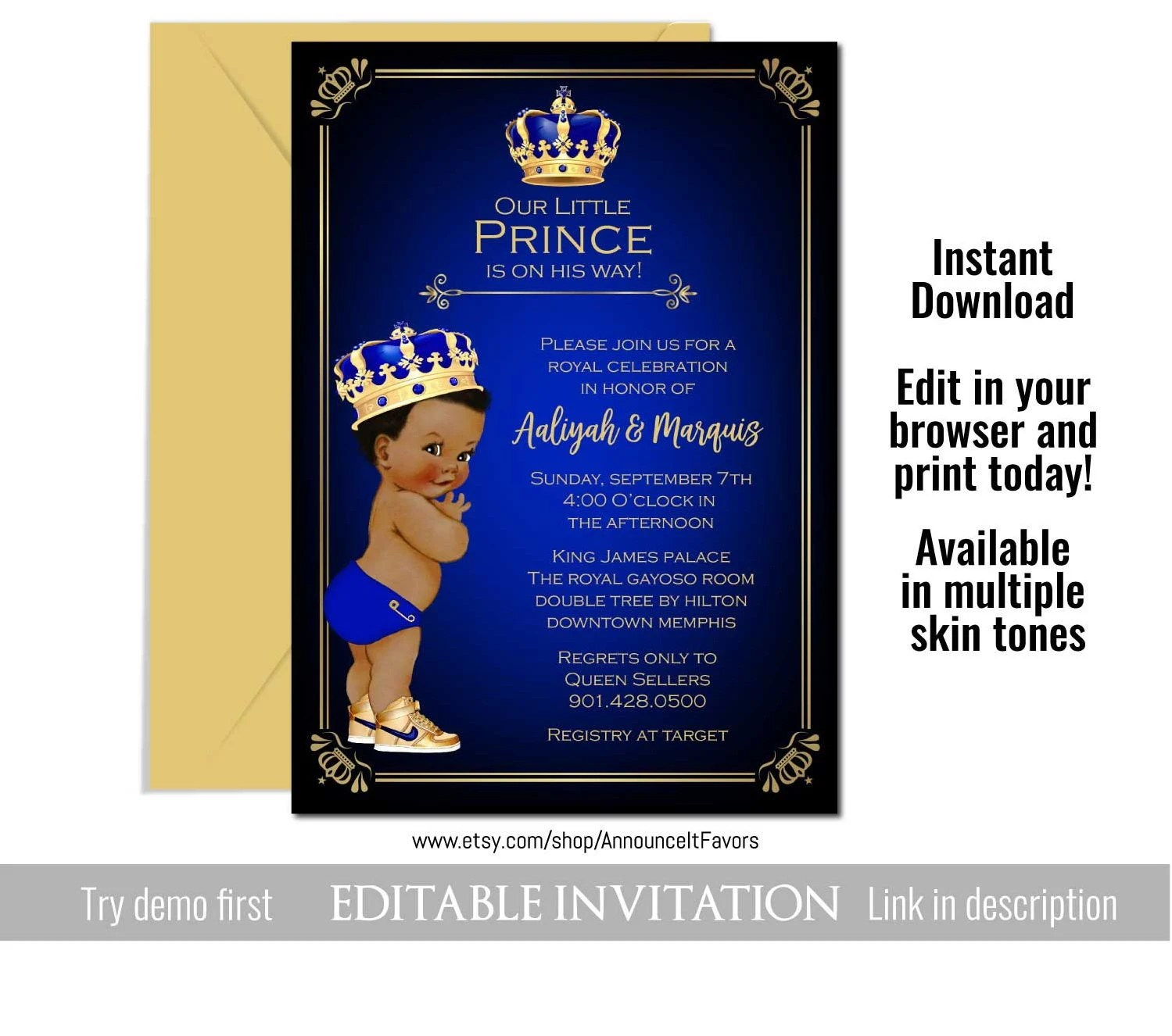 prince baby shower invitation prince baby shower invites royal baby shower invitation template blue and gold invitations