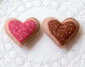 Felt Play Food, Biscuits, Sugar Cookies, Raspberry Heart, Children's Toy, Pretend Play, Felt Cookies, Tea Party, Bakery Toys, Set of Two