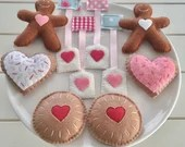 Tea for Two, Felt Tea Set, Play Food, Tea Bag, Biscuit, Sugar Cookie, Jam Drop, Gingerbread, Tea Party, Pretend Play