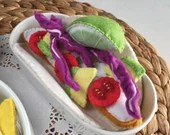 Felt Play Food, Soft Taco, Chicken, Avocado, Pretend Food, Mexican, Children's Gift, Perfect for Play Kitchen!