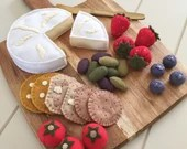 Cheese Board, Brie, Camembert, Crackers, Felt Play Food, Pretend Play, Tea Party, Play Kitchen, Olives, Strawberries, Tomatoes