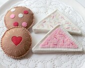 Felt Play Food, Biscuits, Chocolate Chip Cookie, Jam Drop, Fairy Bread, Children's Toy, Pretend Play, Tea Party, Tea Set, Pink, Set of Four