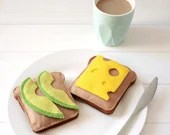 Avocado and Cheese on 2 x slices of Toast Bread Play Food, Felt Food, Play Kitchen, Pretend Food, Pretend Play, Tea Party, Picnic, Breakfast